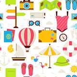 Flat Summer Travel Seamless Pattern