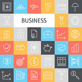 Vector Flat Line Art Modern Business Icons Set