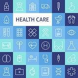 Vector Flat Line Art Modern Healthcare and Medicine Icons Set