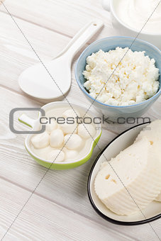 Dairy products. Sour cream, milk and cheese