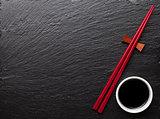 Japanese sushi chopsticks and soy sauce bowl