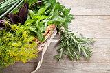 Fresh garden herbs in basket