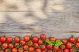 Ripe cherry tomatoes and basil