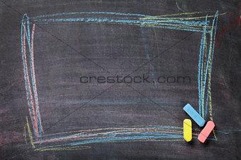 Chalk on blackboard background