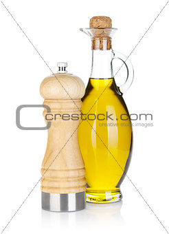 Olive oil bottle and pepper shaker