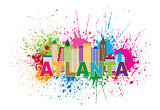 Atlanta Skyline Paint Splatter Colorful Text Illustration