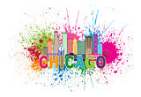 Chicago Sklyine Paint Splatter Abtract Illustration