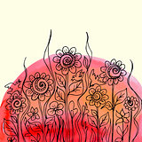 Vector watercolor paint floral design