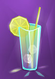 Vector illustration of summer cocktail, lemonade or juice