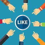 hand clike like button