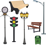 City objects- dustbin, lamppost,street hours, traffic light, bench