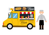 food truck hamburger,hot dog, street food