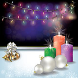 Abstract background with Christmas lights and decoration