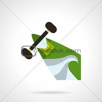 Green longboard flat vector icon