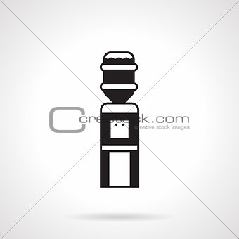 Black monochrome water cooler vector icon