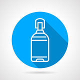 Plastic bottle blue round vector icon