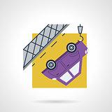 Car evacuation flat vector icon