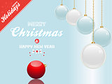 Christmas bauble blue and white background with text and red cor