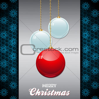 Christmas baubles over brushed metallic panel with text
