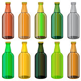 Set of Colorful Beer Glass Bottles