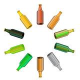 Colored Glass Beer Bottles Set