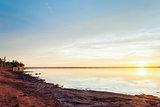 Sunset on Panmure Island's coast