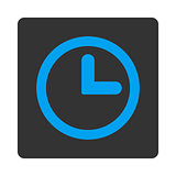 Clock flat blue and gray colors rounded button