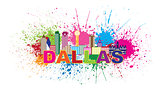 Dallas Skyline Paint Splatter Color Illustration