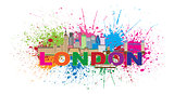 London Skyline Paint Splatter Color Text Illustration