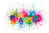 Paris Skyline Paint Splatter Text Color Illustration