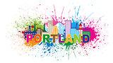 Portland Oregon Skyline Paint Splatter Illustration