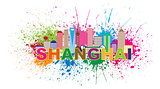 Shanghai City Skyline Paint Splatter Illustration
