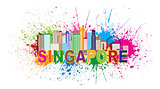 Singapore City Skyline Paint Splatter Illustration