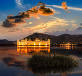 The palace Jal Mahal at night. Jal Mahal (Water Palace) on Man S