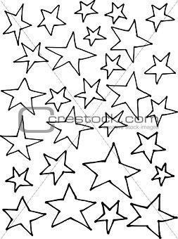 liquid line irregular stars hand drawn over white