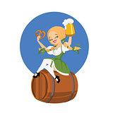 Beer girl in dirndl on keg with pretzel pinup