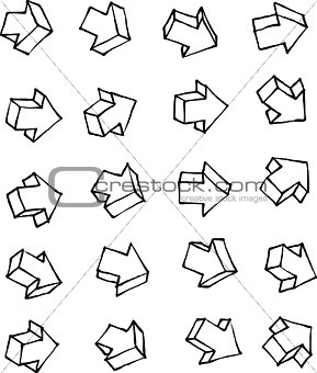 arrow hand drawn arrow icon collection over white background