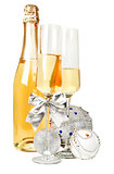 Champagne sparkling wine and new year silver composition