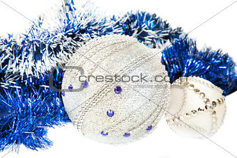 Christmas blue tinsel and blue with white glitter balls