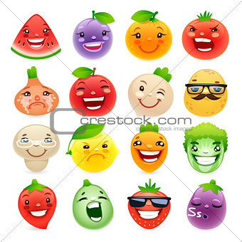 Funny Cartoon Fruits and Vegetables with Different Emotions