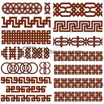 17 Oriental Geometrical Seamless Borders