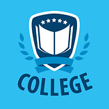 vector logo book and shield for college