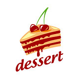 vector logo cake with two cherries