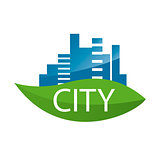 vector logo city on a green leaf