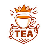 vector logo cup of tea and a crown