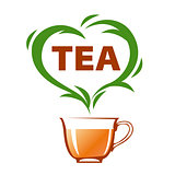vector logo cup of tea and green heart