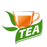 vector logo cup of tea and green leaves