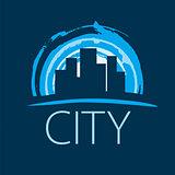 vector logo evening city at sunset