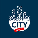 vector logo glowing night city