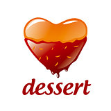 vector logo heart-shaped dessert with chocolate